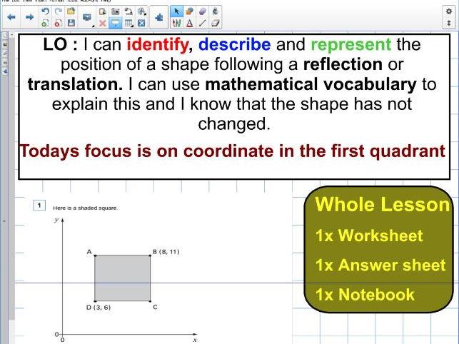 Position of shape - coordinates KS2 - Whole lesson