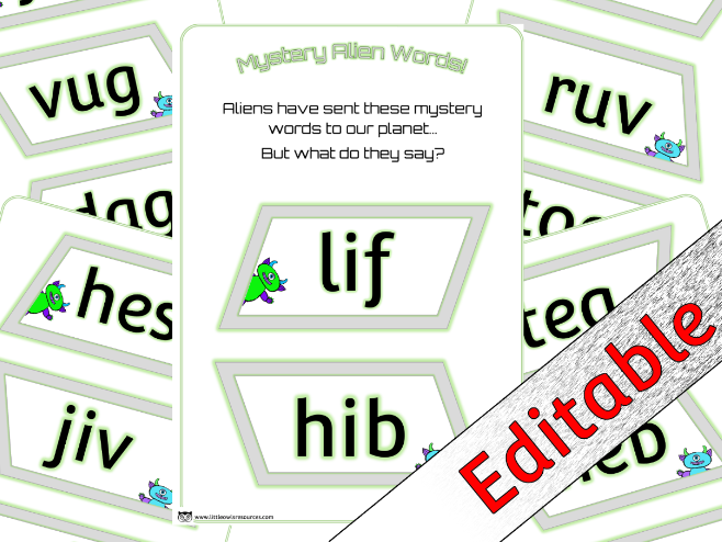 Phase 2 Phonics/Letters and Sounds Nonsense Words - Alien theme - Editable