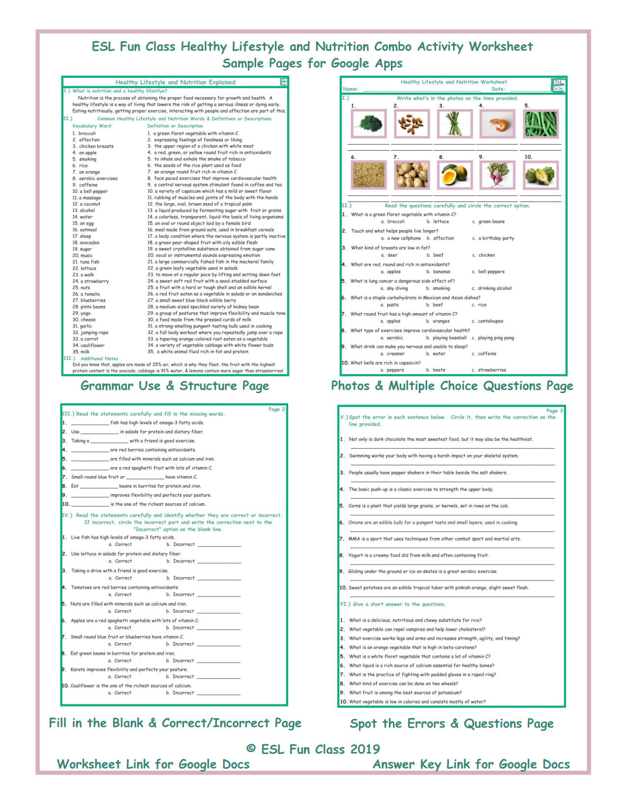 Healthy Lifestyle and Nutrition Interactive Worksheets for Google Apps