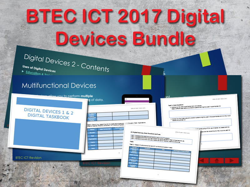 BTEC 2017 Digital Devices 3 Resources Bundle