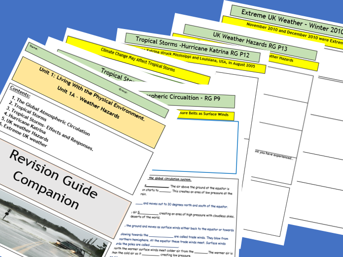 AQA GCSE 9-1 : Flipped Learning Revision Guide Companion- Weather Hazards.