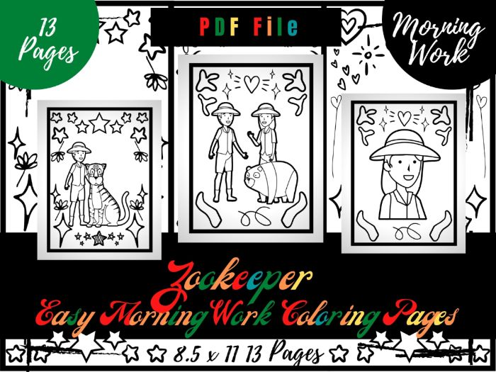 Zookeeper Morning Work Colouring Pages, Easy Printable Colouring Sheets PDF