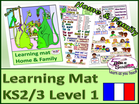 PRIMARY FRENCH VOCABULARY LEARNING MAT (KS2/3): Family, nos 1-20, age, adjectives, names, verbs