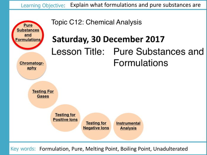 AQA GCSE: C12 Chemical Analysis: L1 Pure Substances and Formulations