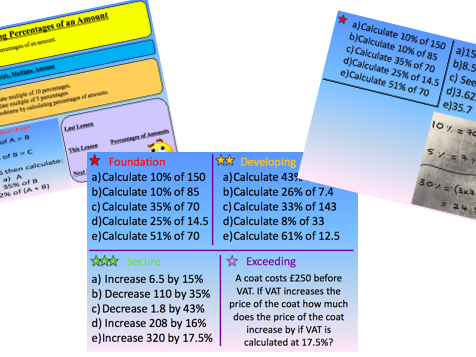 Percentages of an Amount - New Curriculum Lesson