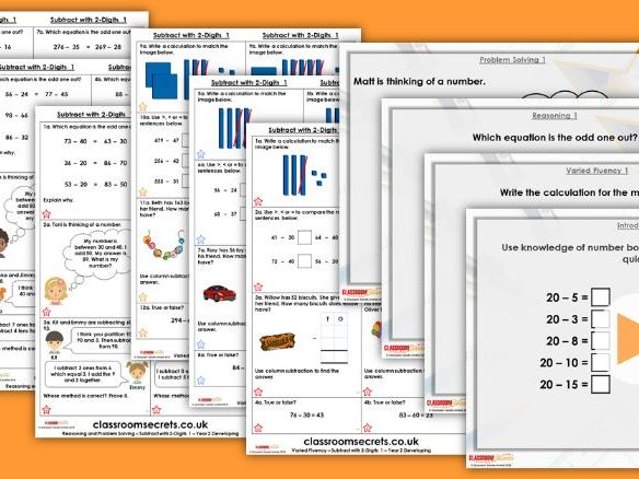 Year 2 Subtract with 2-Digits 1 Autumn Block 2 Step 13 Lesson Pack