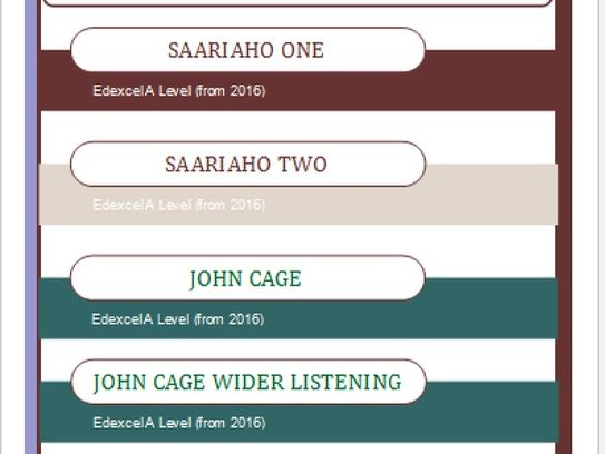 Bundle of Edexcel Music A Level (2016-) Saariaho and Cage
