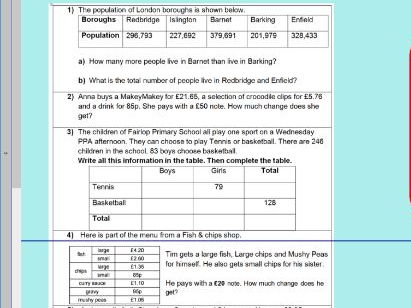 Addition and subtraction multi-step problems - ks2 year 5 & 6 -  WORKSHEET ONLY