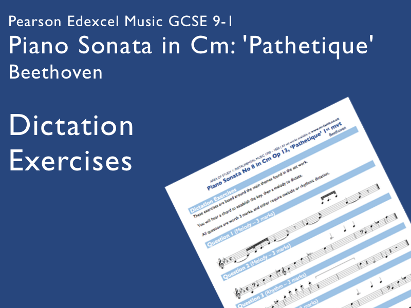 Beethoven - Piano Sonata in Cm, Pathetique | Edexcel Pearson GCSE Music 9-1 | Dictation Exercises