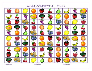 Fruits and Vegetables Mega Connect 4 games