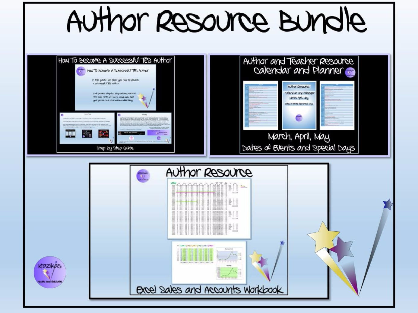 TES Authors' Resource Bundle by a Top Selling Author - Guide - Hints and Tips, Excel Sales and Accounts Tracker, Author Calendar and Planner