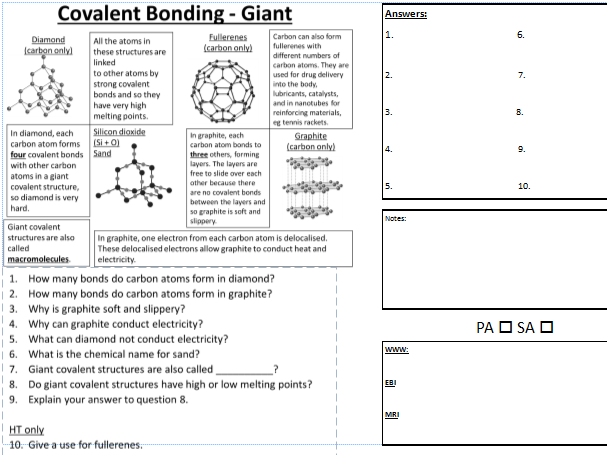 C2 Giant Covalent Bonding PASA DIRT learning worksheet with WWW – Covalent Bonding Worksheet Answers