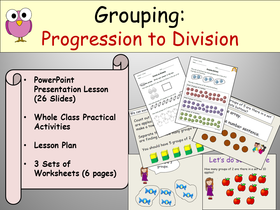 Division: Grouping - PowerPoint Presentation, Lesson Plan and Worksheets Keystage 1