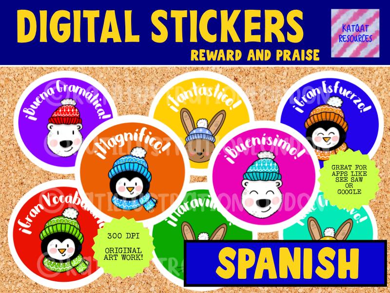 Spanish Digital Stickers - Cute Winter- Seesaw or Google Apps
