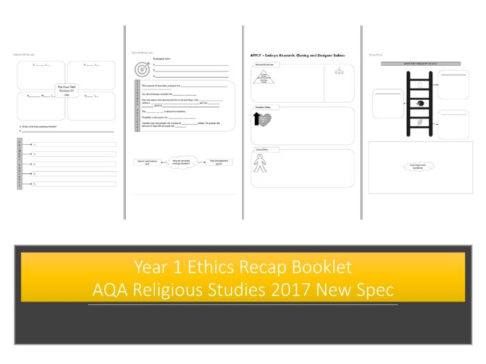 Year 1 Ethics Recap Booklet - AQA Religious Studies 2017 New Spec