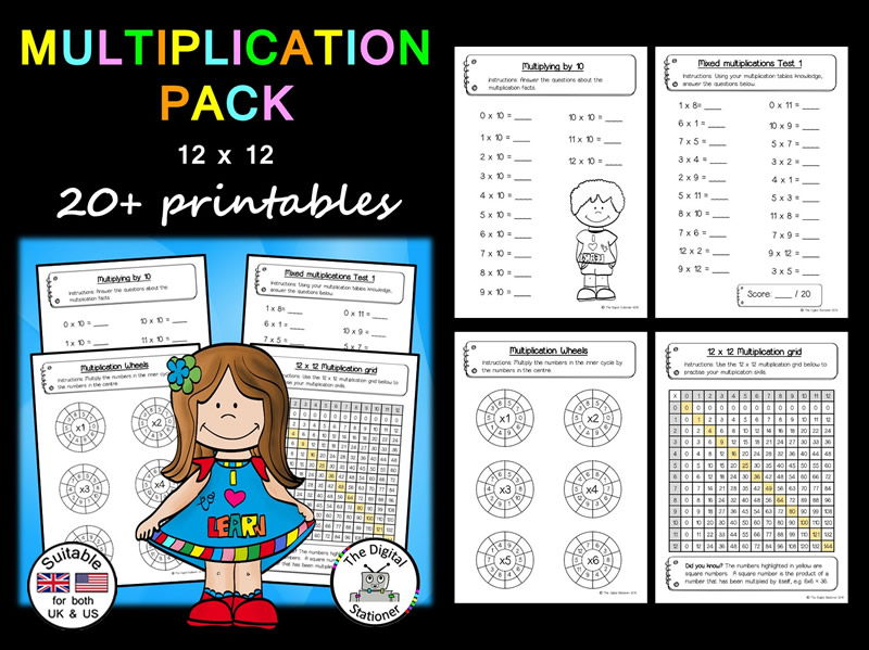 Multiplication tables 12x12 Maths - 20+ printables