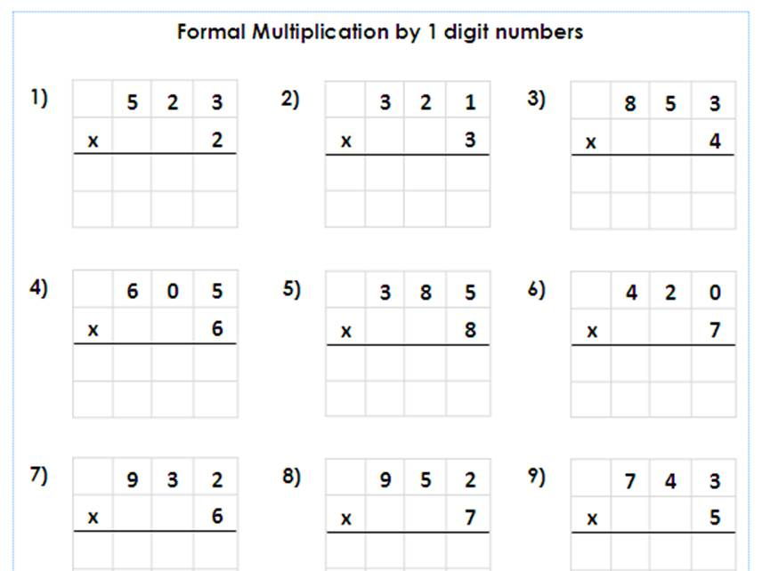Year 5 / 6 Formal Multiplication by 1 digit numbers