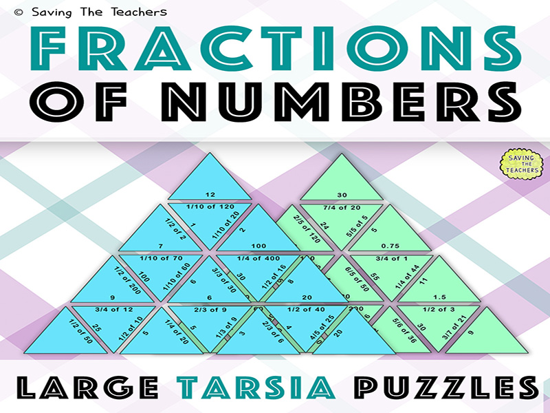 Fractions Of Numbers Activity: 2 Large Tarsia Puzzles