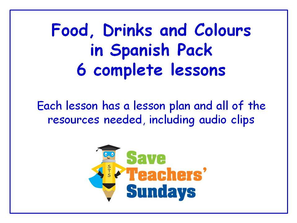 Spanish Food, Drinks and Colours Unit (6 Lessons) - All Lessons Have AUDIO Clips