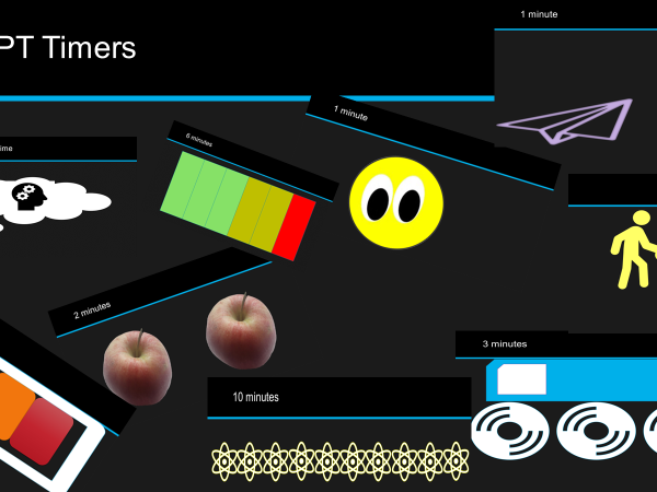powerpoint timers including think time. 1, 2, 3, 4, 5, 6 & 10 minutes. ppt timers.