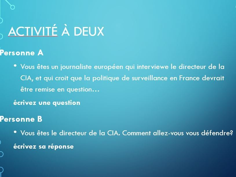 French 'La cybersurveillance' Lesson
