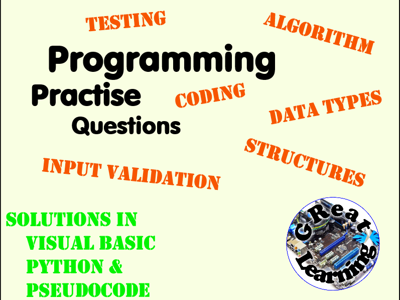 Programming Homework/Assessment Practise Questions (Set 6)