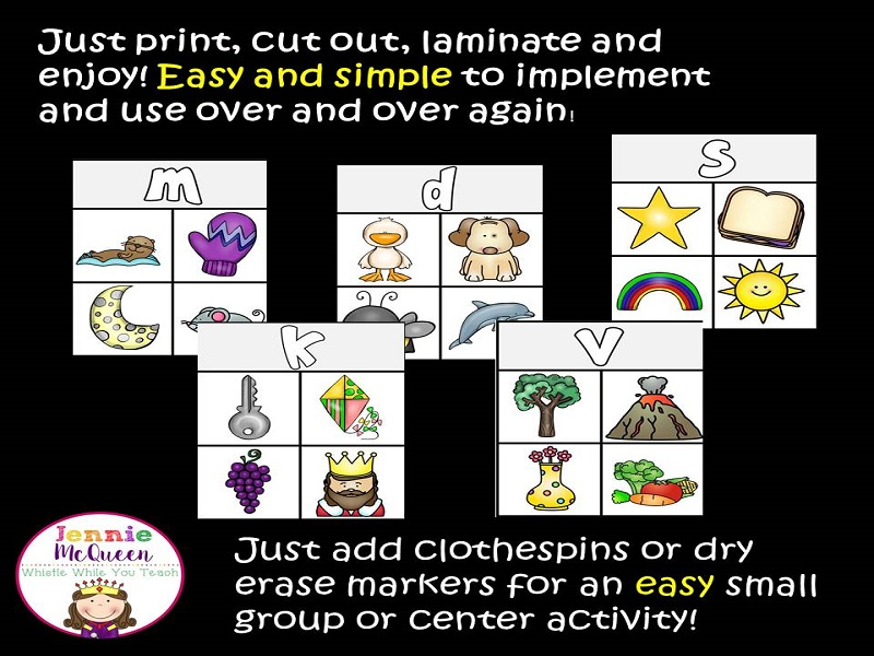 Beginning Sounds: What doesn't belong? Clip Cards