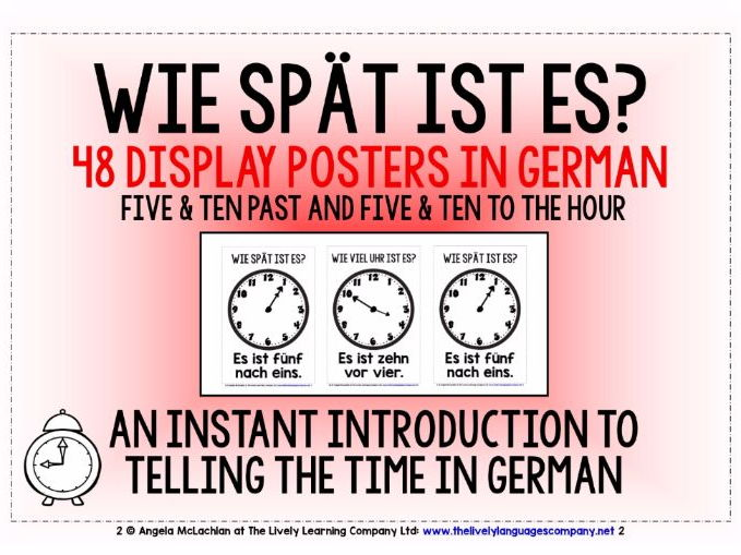 GERMAN TELLING THE TIME - 48 DISPLAY POSTERS / FLASHCARDS (2)