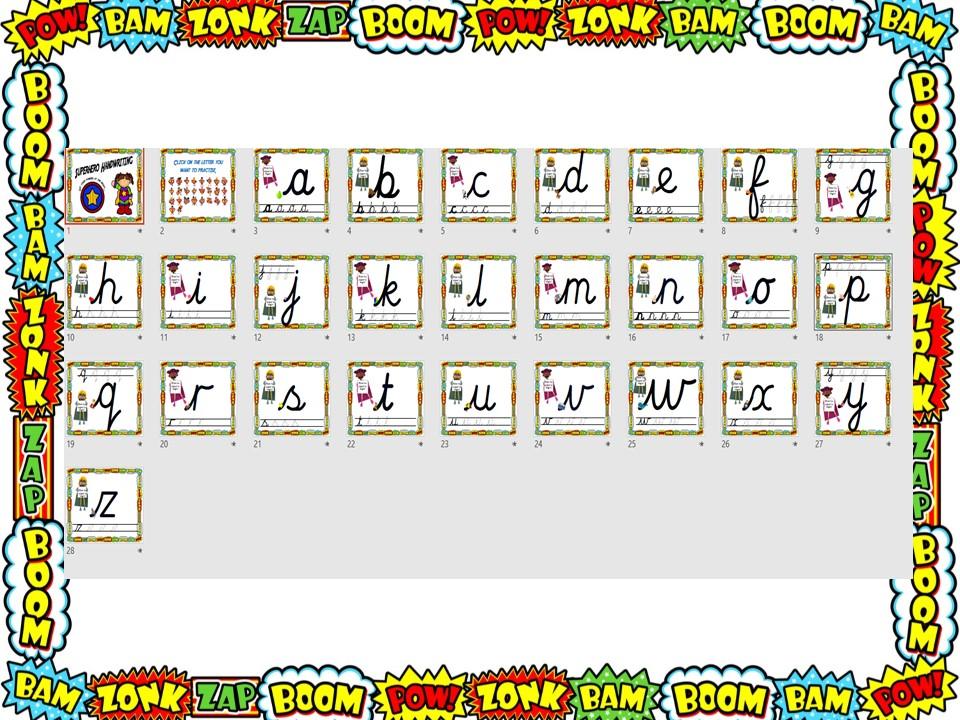 Superhero Handwriting Letter Formation Tool Cursive