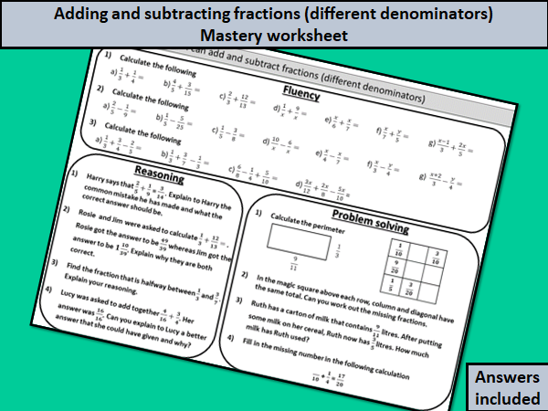 Adding and subtracting fractions (different denominators) - mastery worksheet