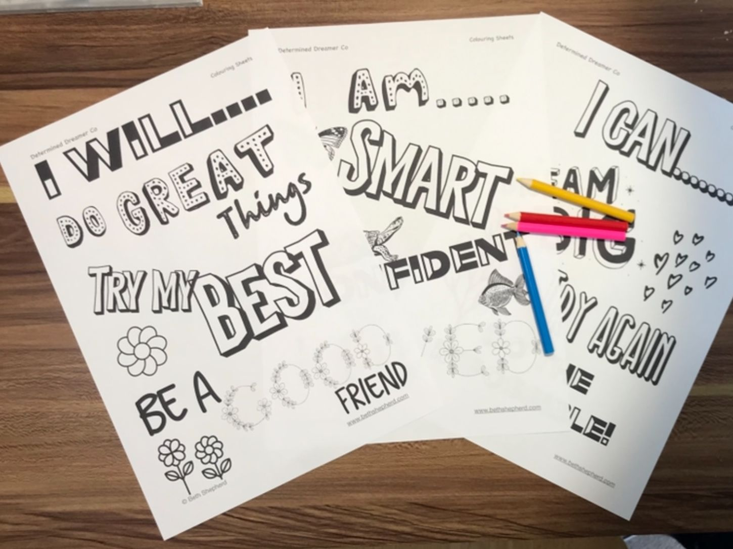 I am a Determined Dreamer Bundle - Includes: Worksheets, posters, activities and positive statements sheet to encourage a determined mind.