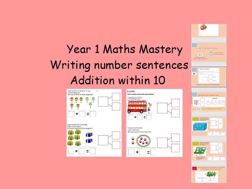 How to write addition number sentences Year 1 EYFS Addition within 10 EdITABLE