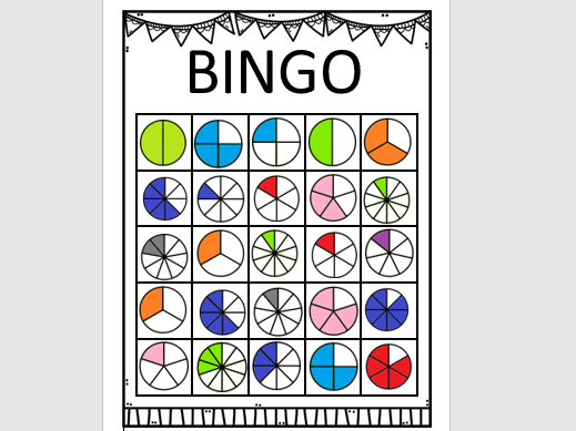 Fraction Bingo Game: Revision or Introduction to Fractions