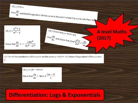 A Level Maths (2017) Differentiation: Logs & Exponentials