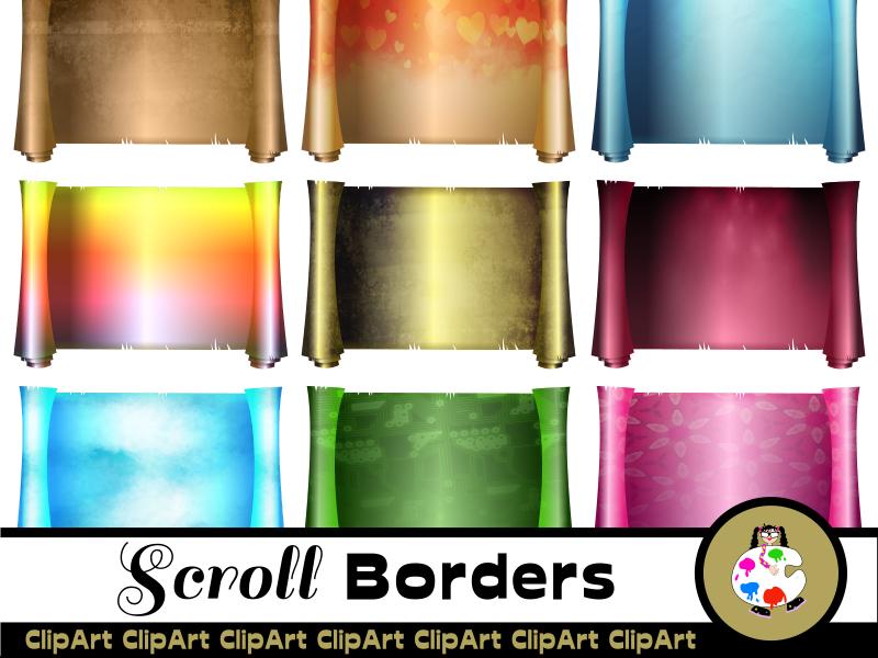 Scroll Border Background Clip Art Set