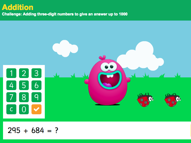 Addition over 1,000 - Adding Three-Digit Numbers Interactive Game - KS2 Number