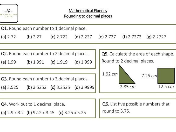 Rounding to decimal places (Fluency - Area of polygons, Multiply Decimals)
