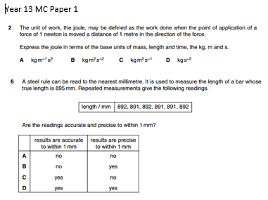Physics A level Multiple Choice Questions OCR