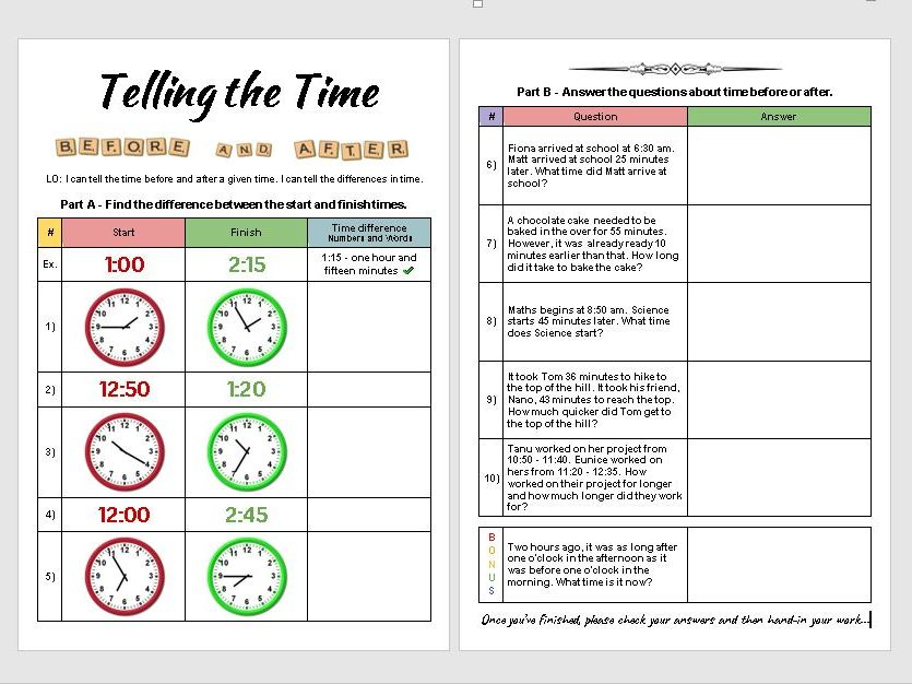 Telling the Time - Before and After [Designed for Online]
