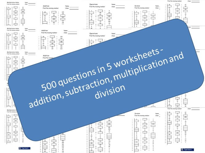 500 question, 5 exam bundle - addition, subtraction, multiplication ...