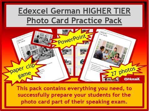 Edexcel German GCSE Speaking HIGHER photo card