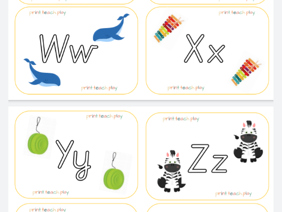 Alphabet Flash Cards - Unjoined Precursive Outline