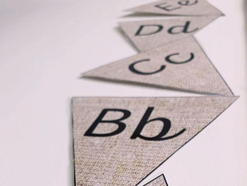 Hessian Cursive Alphabet Display Bunting