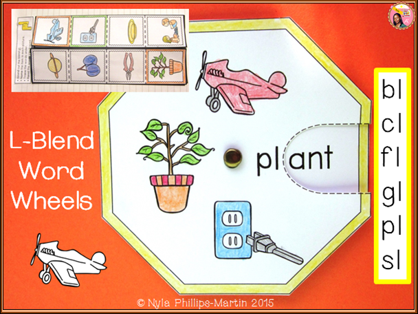 Phonics Word Wheels and Foldables for L Blend