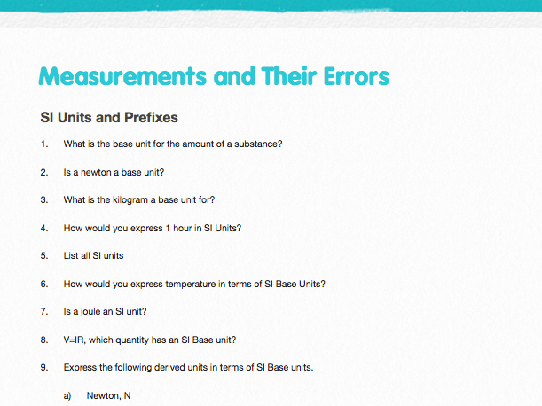 AQA Measurements and Their Errors - Question Bank and Solutions