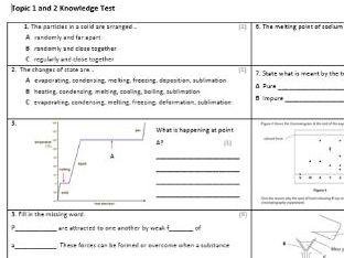 Edexcel CC3 Chemistry Knowledge Assessment
