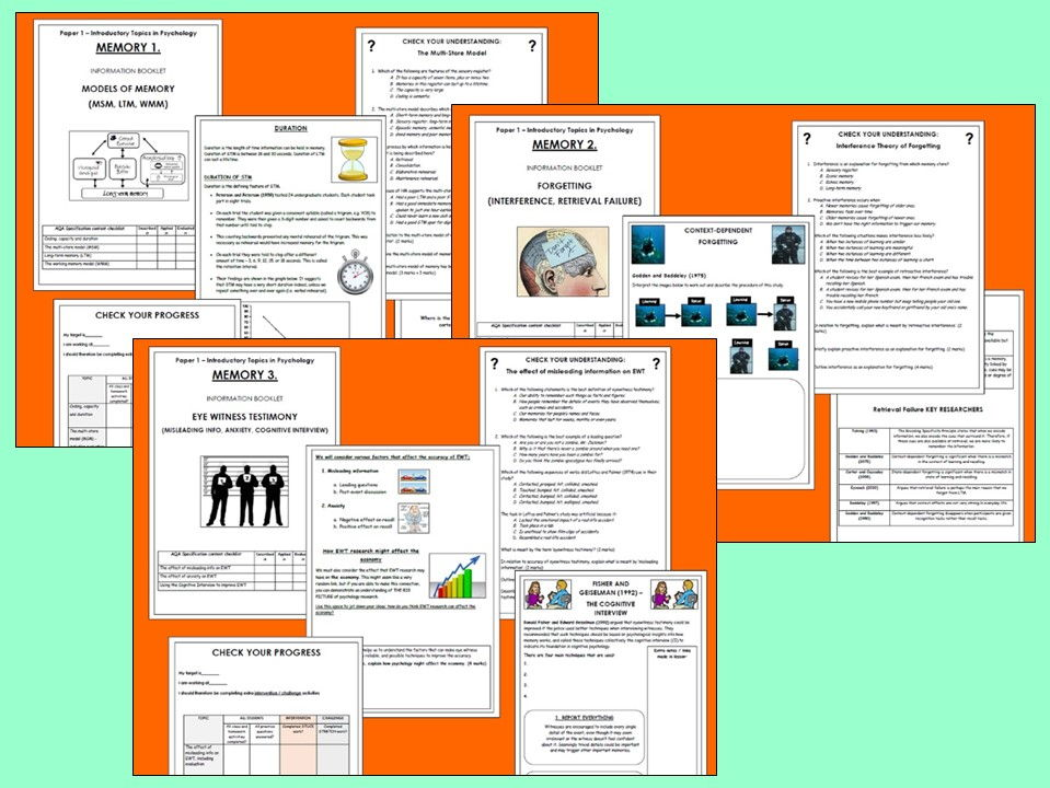 AQA Psychology A-level - Memory Booklets