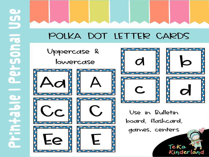 Uppercase & Lowercase Letter Cards | Blue Polka Dot Letter Flashcards (78 Cards)