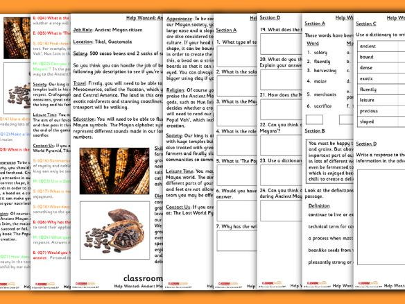 Differentiated Year 3  Ancient Mayan Citizen Whole Class Guided Reading