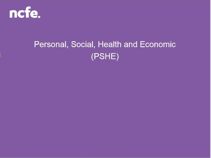 NCFE PSHE Resource - Sexual Health Awareness session pack Level 1/2